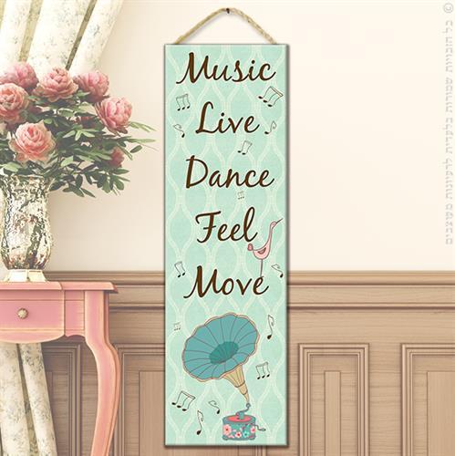 """שלט עץ """"MUSIC"""""""
