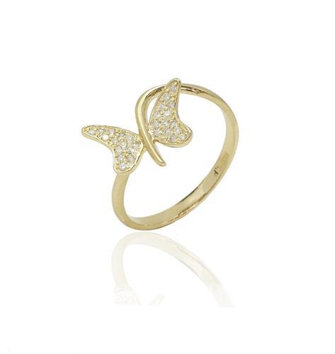 טבעת פרפר עדינה זהב ויהלומים