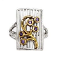 טבעת מכסף משובצת אבני אמטיסט ושילוב ציפוי נחושת RG8835