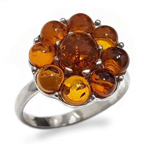 טבעת מכסף בשיבוץ ענבר RG5927   תכשיטי כסף 925   טבעות כסף