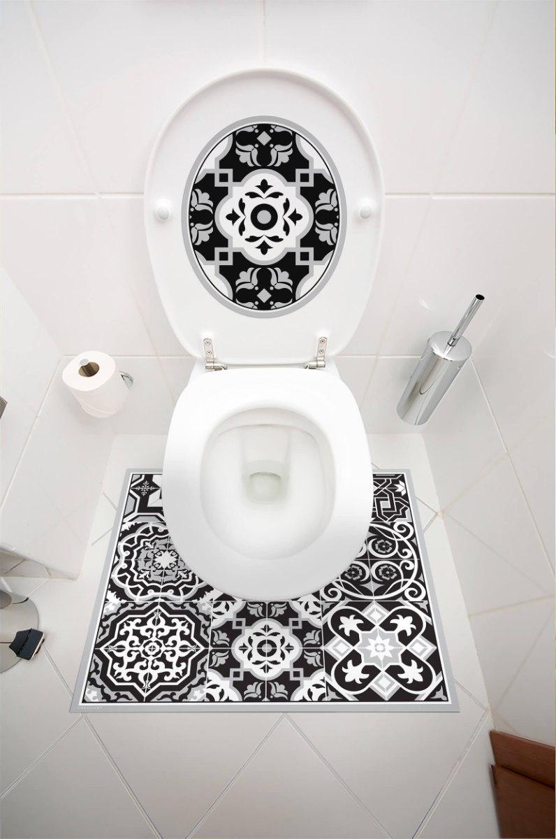 עיצוב איזור האסלה – מדבקה (39 ₪) שטיחון (88 ₪) סט (119 ₪) אקלקטי שחור לבן TIVA DESIGN