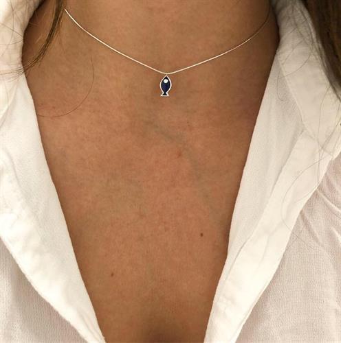 שרשרת דו צדדית - דג כחול לבן- כסף 925