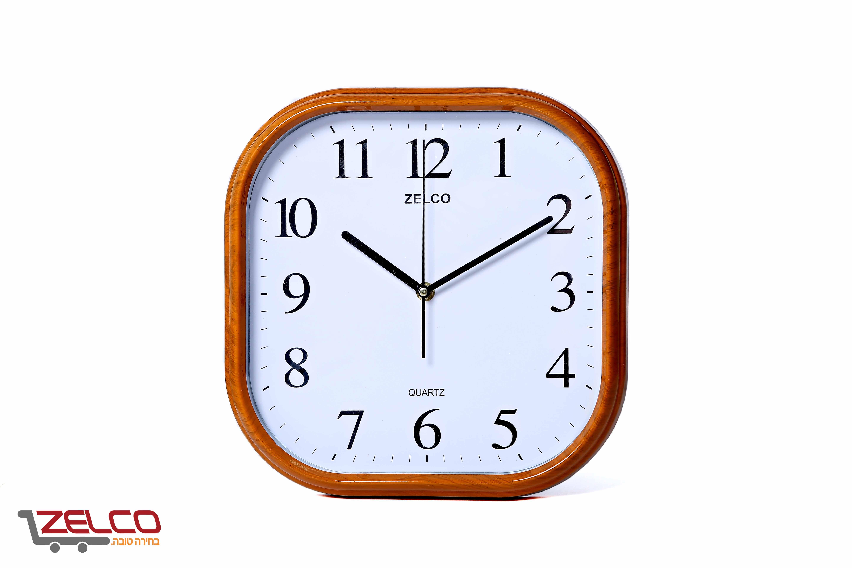 שעון קיר דמוי עץ מרובע אגס קוניאק
