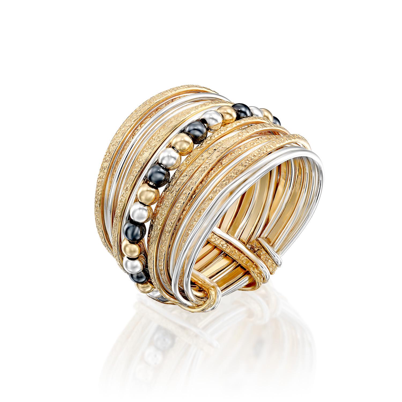 טבעת ספירלי לבן צהוב חרוזים