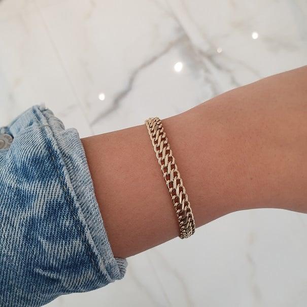 צמיד זהב חוליות עדין ודק לאישה בסגנון S