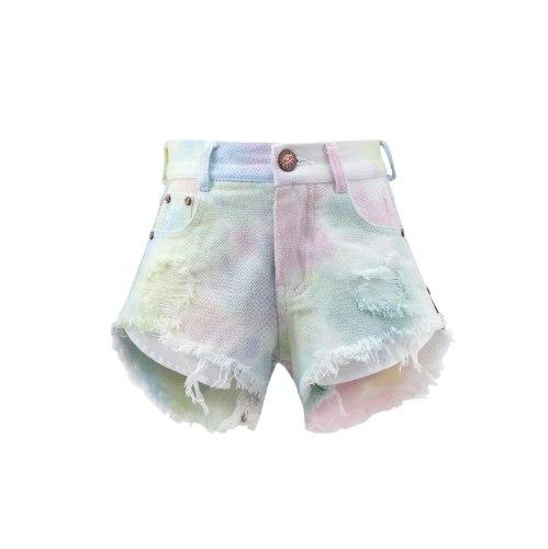 שורט ג׳ינס לבן עם טאי דאי ופרנזים - VIEW - מידות 2-16