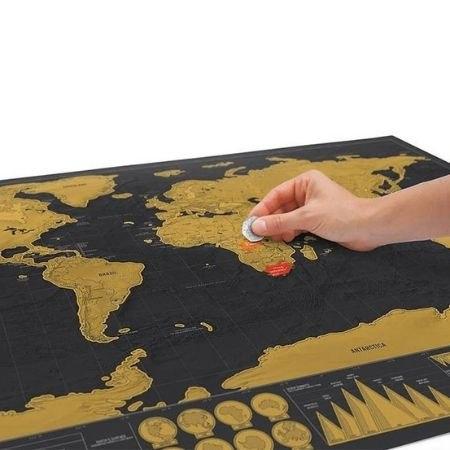 מפת עולם יוקרתית מעוצבת משכבות לגירוד