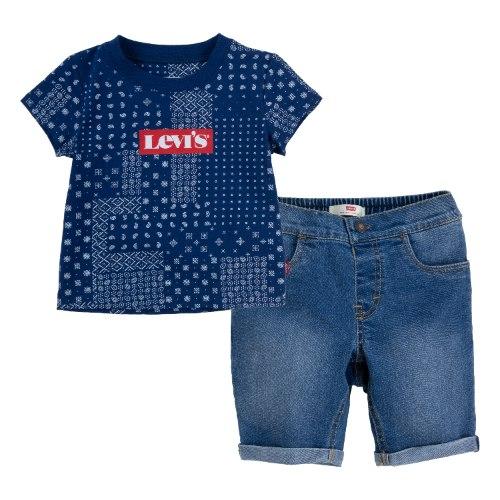 חליפת בנדנה כחולה עם שורט ג׳ינס LEVIS בנים - 1-7 שנים