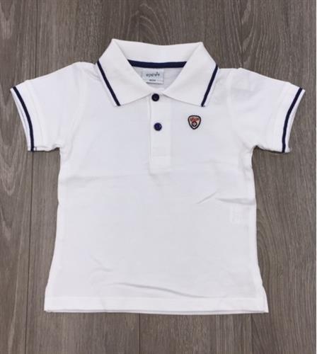 חולצת פולו לבנה פס שחור
