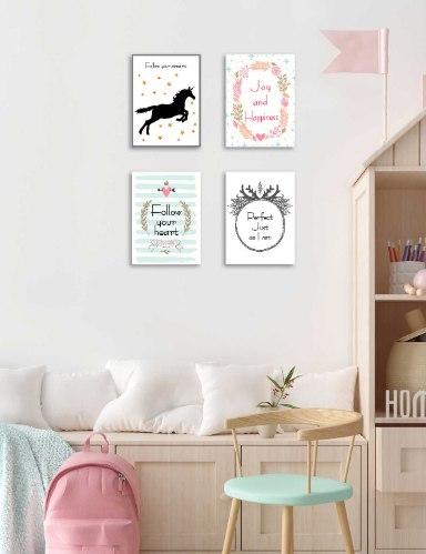 סט של 4 תמונות השראה לחדר ילדה/ נערה דגם 029
