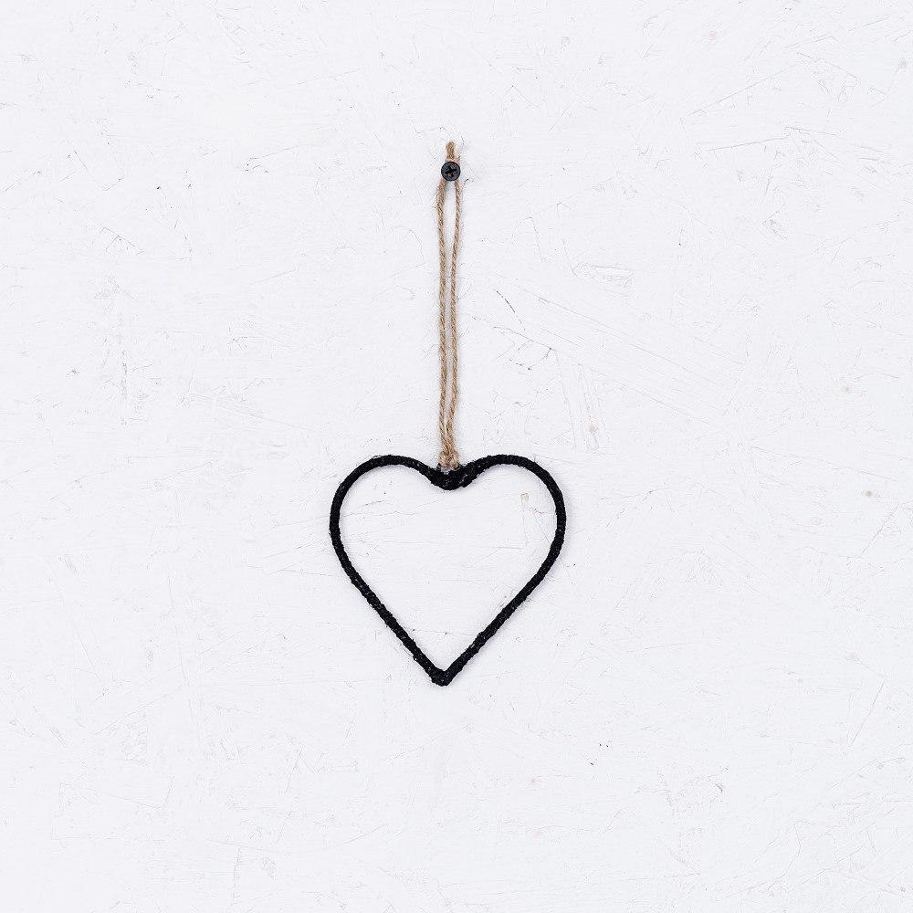 לב חוטי יוטה - שחור