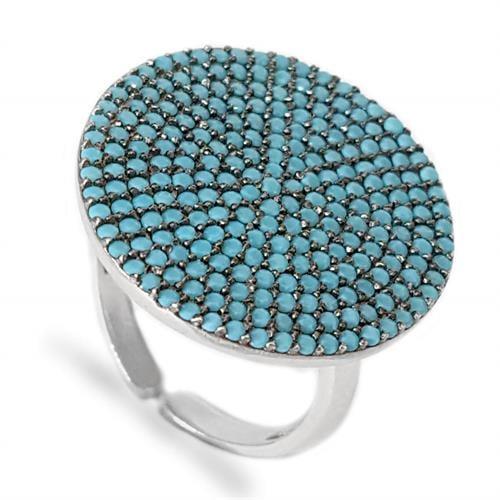 טבעת כסף משובצת אבני זרקון כחולות RG5600 | תכשיטי כסף 925 | טבעות כסף
