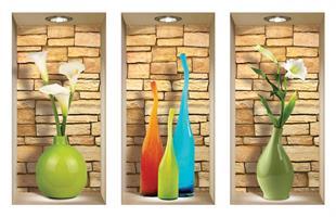 אגרטלי זכוכית צבעוניים בשילוב פרחים עם רקע אבנים דגם 131S
