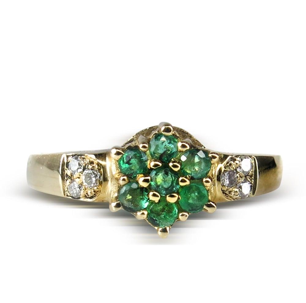 טבעת זהב 14 קרט משובצת באבן חן אמרלד 0.10 קראט ויהלומים 0.15 קראט