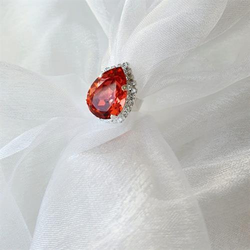 טבעת טיפה סברובסקי -אדום ורוד