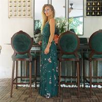 שמלת אדל פרחוני ירוק ונגיעות כסף