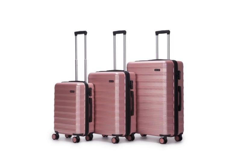 סט 3 מזוודות איכותיות  SWISS EQUIPE  - צבע ורוד