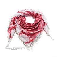 כאפייה ערבית גדולה בצבע אדום - לבן בסגנון ירדני עם פרנזים