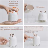 מכשיר אדים ומפיץ ריח דקורטיבי עם תאורת לד