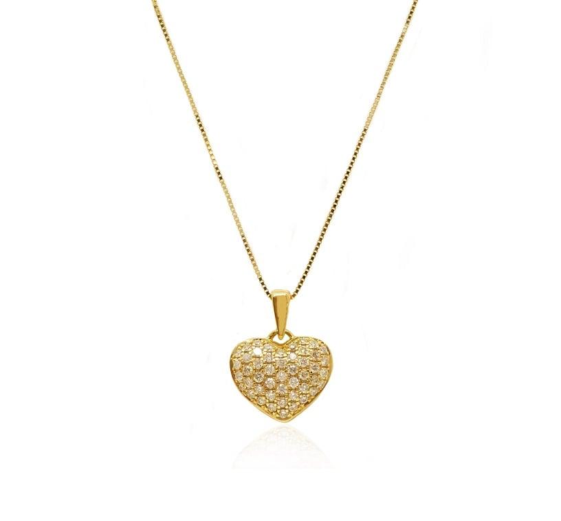 תליון לב יהלומים שרשרת לב עם יהלומים 0.45 קראט