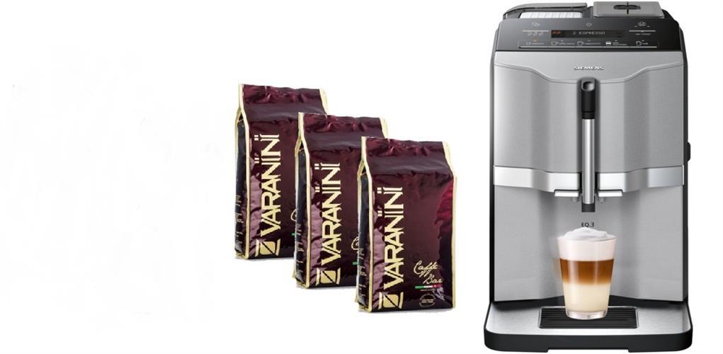 """מכונת אספרסו Siemens ONE TOUCH TI303203RW EQ.3 s300 סימנס קבל 3 ק""""ג קפה איטלקי."""