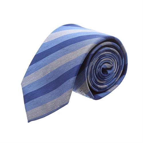 עניבה פסים כחול אפור