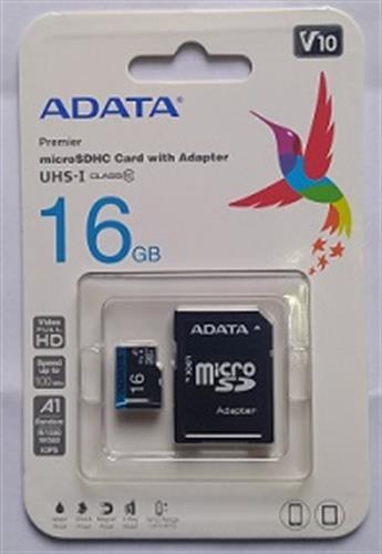 כרטיס זיכרון מיקרו  ADATA 16G CLASS 10 עם מתאם