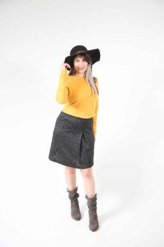 חצאית כפל אפור כהה