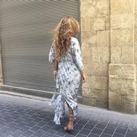 שמלת קימונו פרחוני לבן