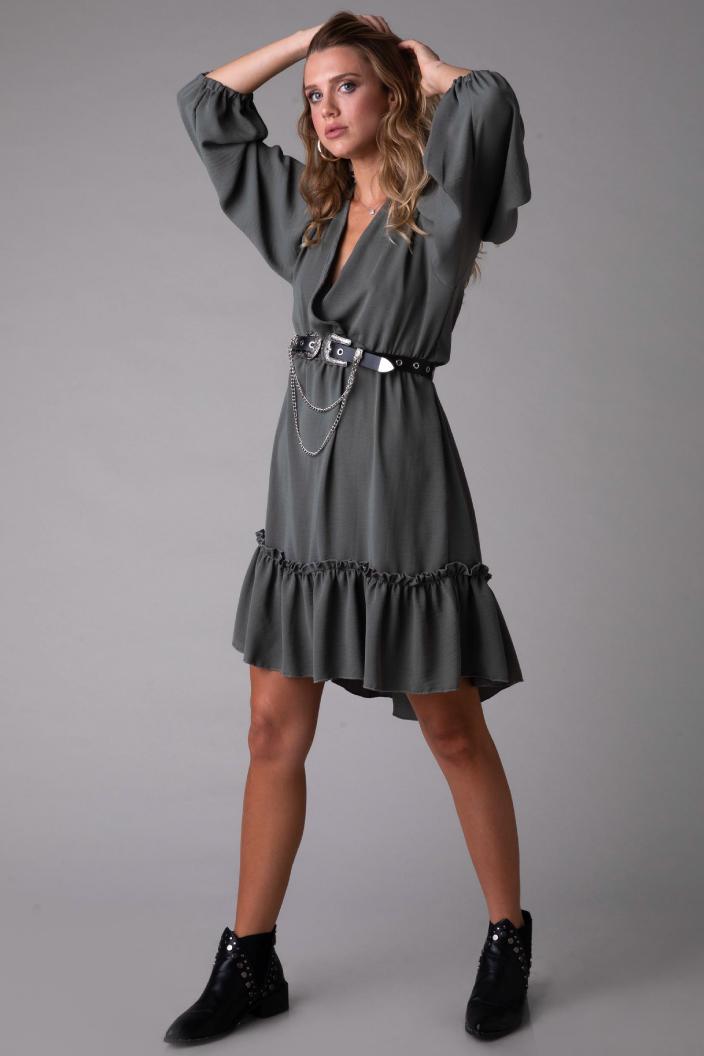 שמלה לואיזה זית ופרחוני
