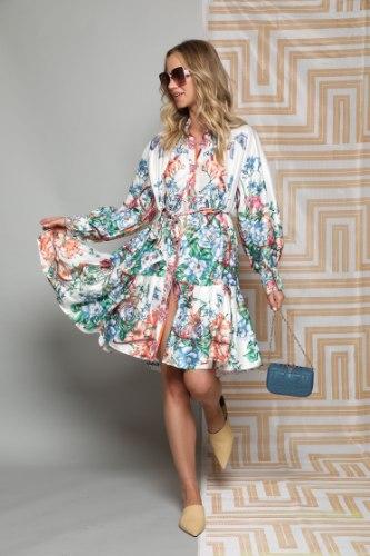 שמלה מידי סאטן מודפס