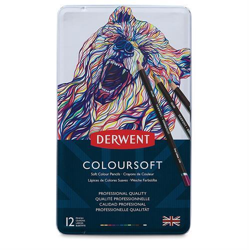 עפרונות צבעוניים DERWENT שמן רך - 12 בסט
