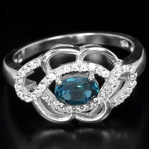 טבעת כסף משובצת טופז כחול וזרקונים RG3108 | תכשיטי כסף 925 | טבעות כסף