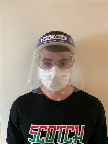מסיכת מגן פנים - Splash guard - מסכת הגנה רב פעמית נגד התזה PVC להגנה על הפנים