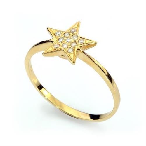 טבעת כוכב יהלומים בזהב 14K