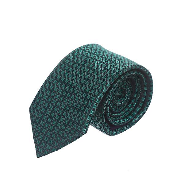עניבה ריבועים ירוק בקבוק