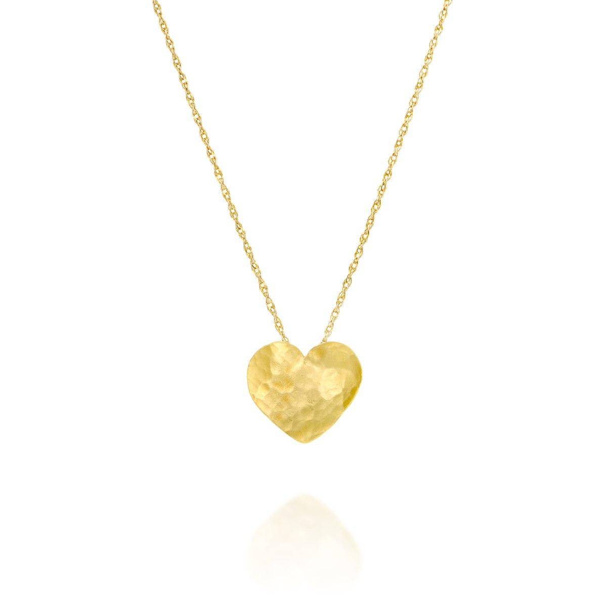 שרשרת זהב 14 קרט עם תליון לב זהב טהור נועה טריפ Noa tripp