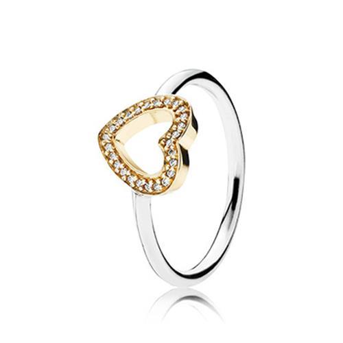 טבעת סמל לאהבה כסף וזהב