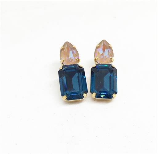 עגילי לולה גלאם זהב כחול