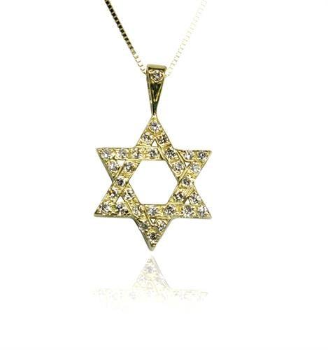 שרשרת ותליון מגן דוד משובץ יהלומים בזהב 14K