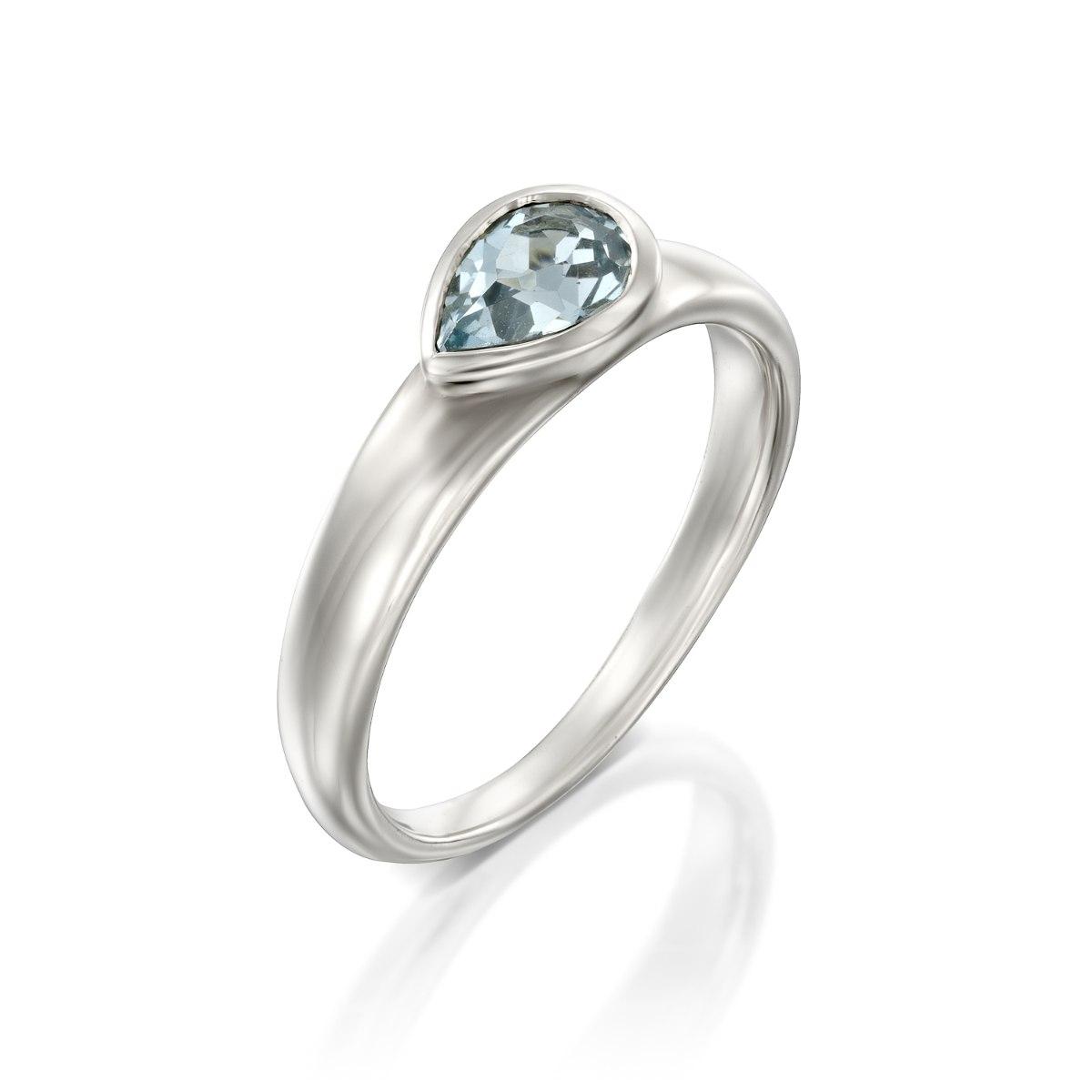 טבעת כסף 925 משובצת בלוטופז בצורת טיפה נועה טריפ noa tripp