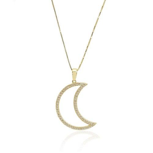 שרשרת ותליון זהב ירח זרקונים