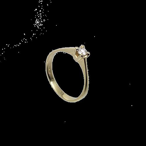 טבעת אירוסין זהב צהוב 14K יהלום מרכזי OP09160077408