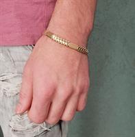 צמיד חוליות לגבר זהב איטלקי צהוב 14 קרט עם עיטורים