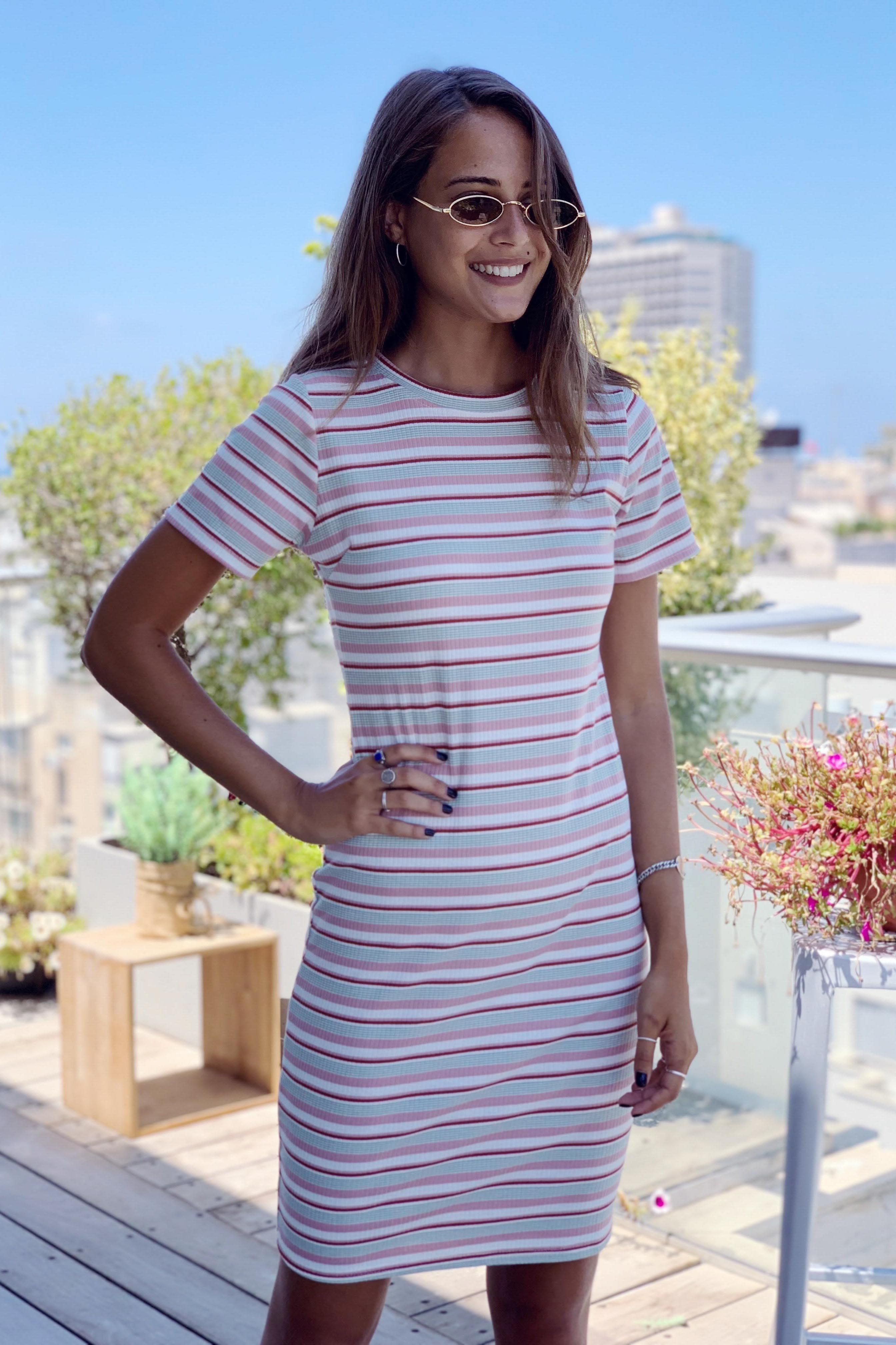 שמלת פסים מיני אורבנית