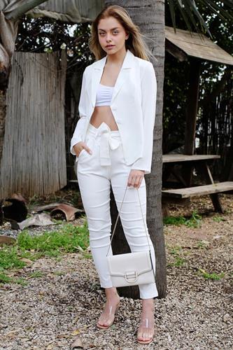 מכנס מייגן מחטב  גבוה לבן