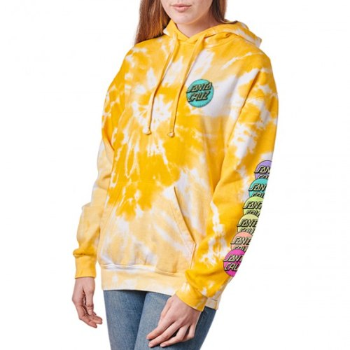 Santa Cruz Womens Rainbow Dot Strip PO Hooded Mid Wt Boyfriend Sweatshirt Spider Dandelion