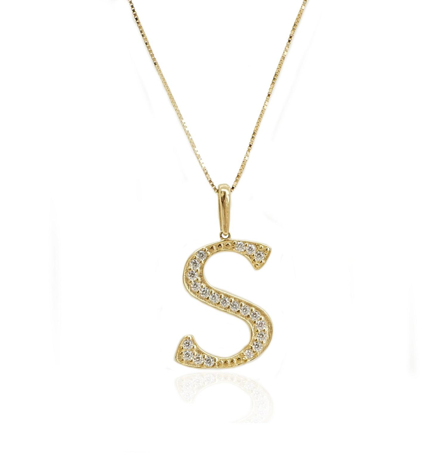 שרשרת זהב אות S שרשרת זהב אות באנגלית
