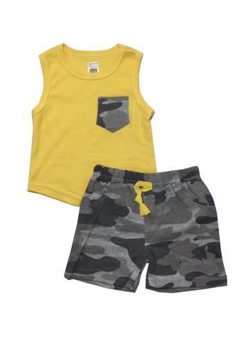 חליפה קצרה גופייה וכיס צבאי צהוב