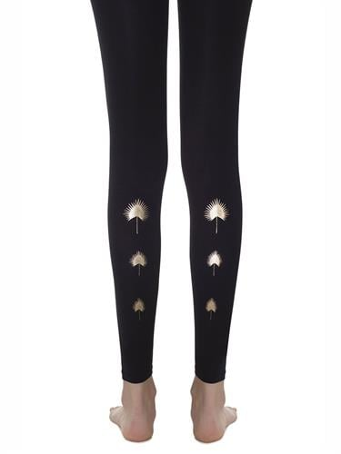 גרביון ללא כף רגל 'YELLOW-WEED' - שחור